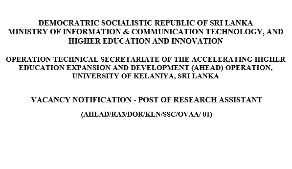 VACANCY NOTIFICATION - POST OF RESEARCH ASSISTANT