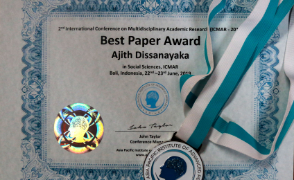 Senior Lecturer Dr. Ajith Dissanayaka Receives the Best Paper Award