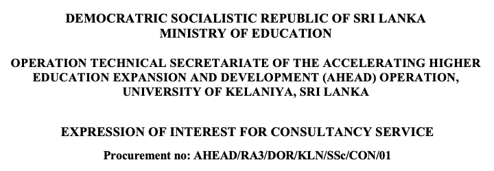 EXPRESSION OF INTEREST FOR CONSULTANCY SERVICE AHEAD/RA3/DOR/KLN/SSc/CON/01