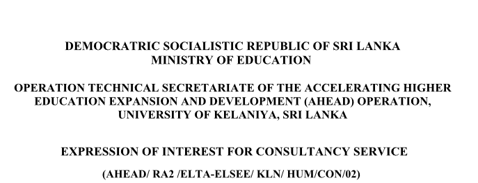 EXPRESSION OF INTEREST FOR CONSULTANCY SERVICE (AHEAD/ RA2 /ELTA-ELSEE/ KLN/ HUM/CON/02)