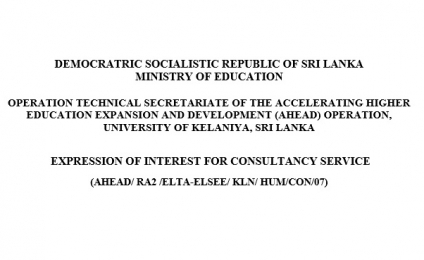 EXPRESSION OF INTEREST FOR CONSULTANCY SERVICE (AHEAD/ RA2 /ELTA-ELSEE/ KLN/ HUM/CON/07)