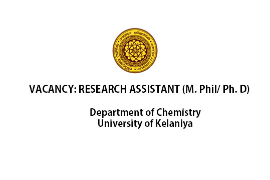 Vacancy: Research Assistant (M. Phil/ Ph. D),Department of Chemistry