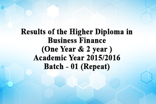 Results of the Higher Diploma in Business Finance(Repeat)