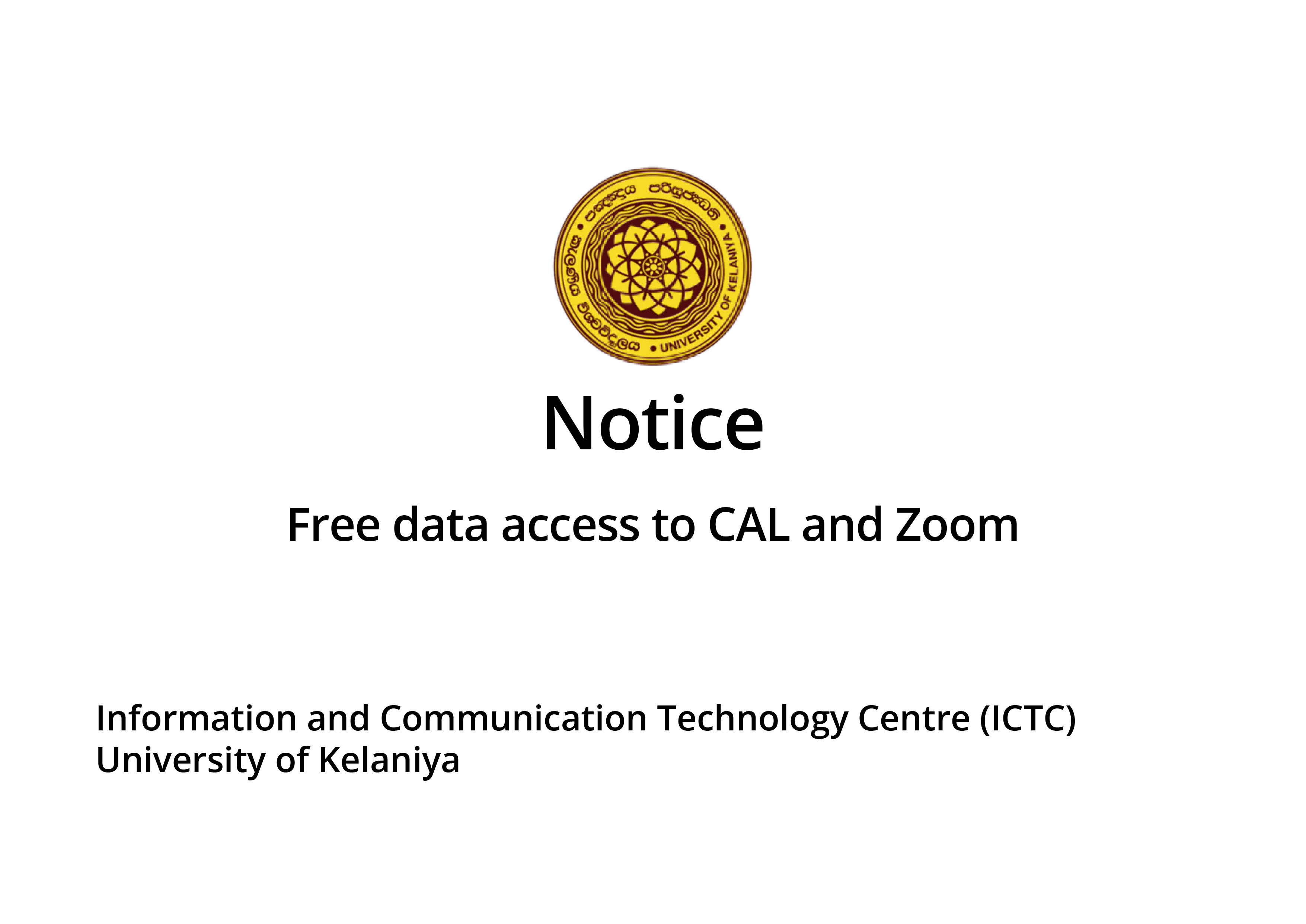 Free data to access CAL and Zoom