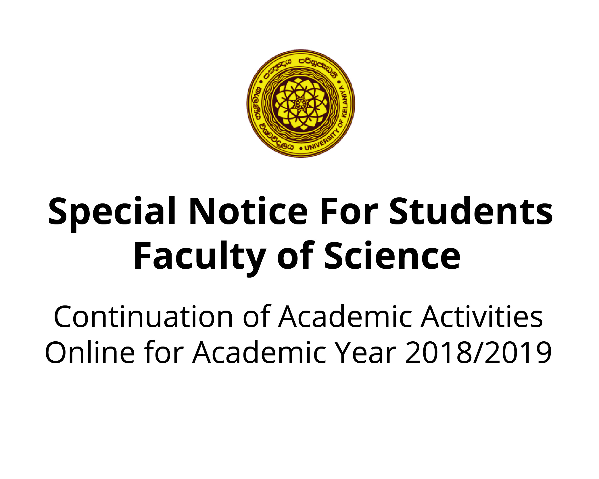 Continuation of Academic Activities Online for Academic Year 2018/2019