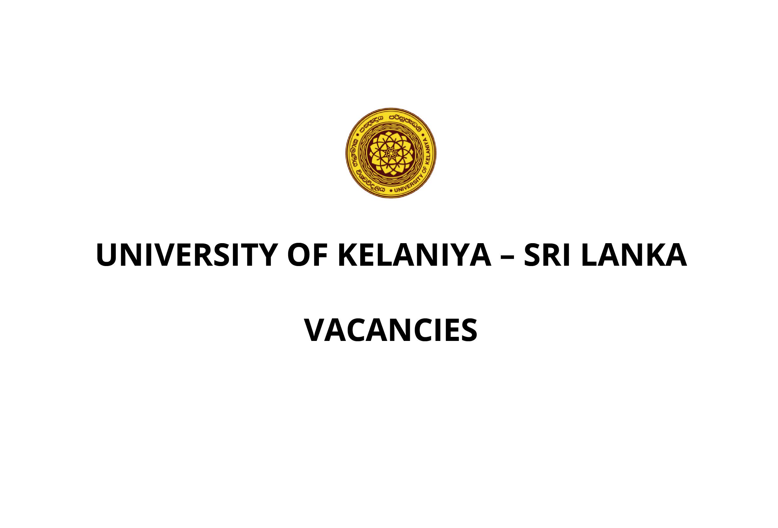 Vacancies of the University of Kelaniya, Sri Lanka