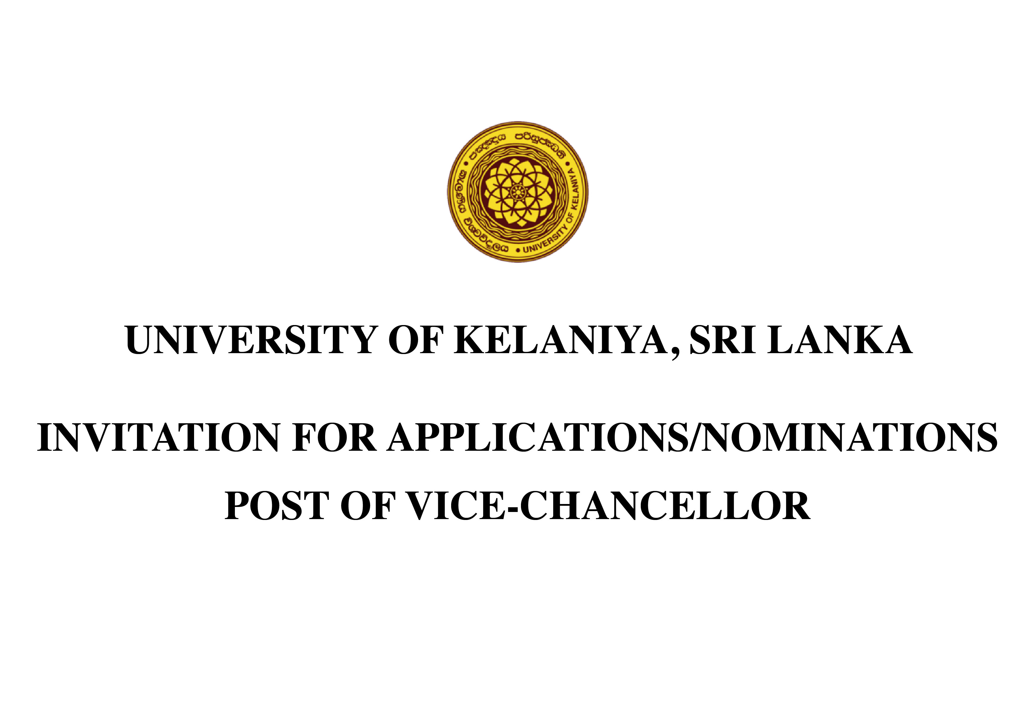 Invitation for applications / nominations - post of vice-chancellor